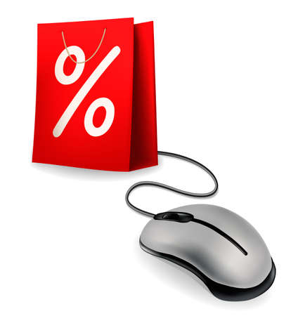 Purchase Order: La bolsa de compras con descuento y rat�n de la computadora, el concepto de comercio electr�nico Vectores