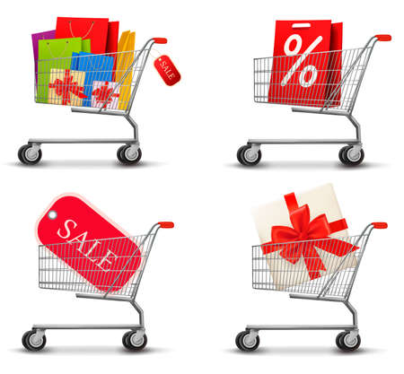 eshop: Collection of shopping carts full of shopping bags and gift boxes. Concept of discount. Vector.