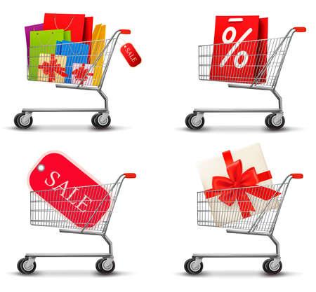 negozio: Raccolta dei carrelli della spesa pieni di sacchetti e scatole regalo. Concetto di sconto. Vector.