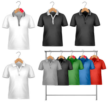 shirts on hangers: White and colorful t-shirt design template. Clothes hanger with shirts with price tags. Vector illustration.