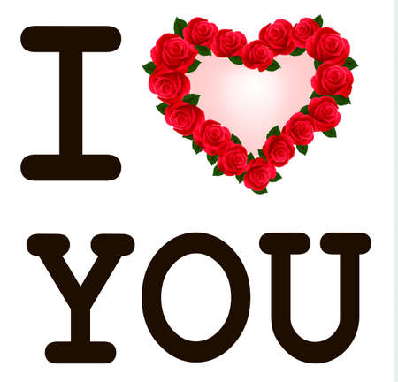love kiss: Heart with roses I love you. template Valentine