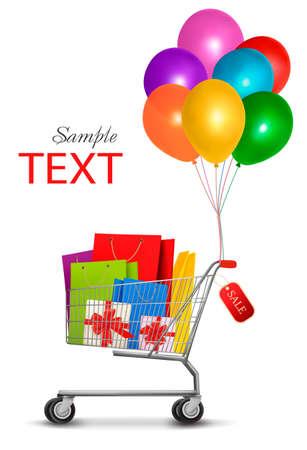 carretilla de mano: Venta de bolsas de compras en la cesta. Concepto de descuento. ilustración.