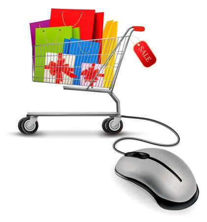 Bolsas de la compra en el carrito de la compra y el ratón del ordenador. El concepto de e-compras. Ilustración del vector.