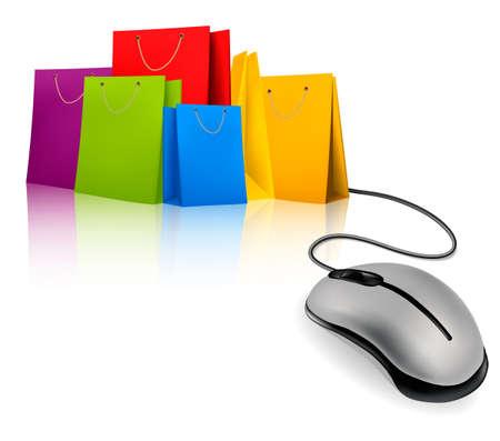상업: 쇼핑 가방 및 컴퓨터 마우스. 전자 쇼핑의 개념입니다. 벡터 일러스트 레이 션.