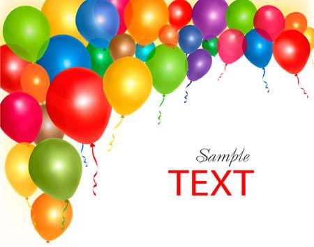 globos de cumpleaños: Globos fotograma de la composición, con espacio para el texto. Ilustración del vector.