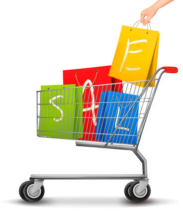 full shopping cart: Shopping cart full of shopping bags with a sale label. Vector