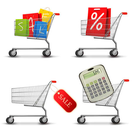 hand cart: Collection of shopping carts full of shopping bags and a sale label. Concept of discount. Vector.