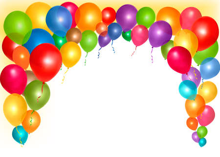balloon border: Holiday frame with colorful balloons with space for your text