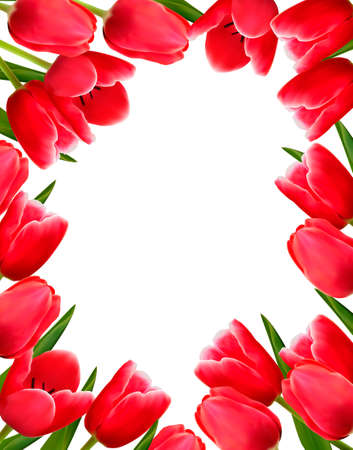 Red fresh spring flowers background