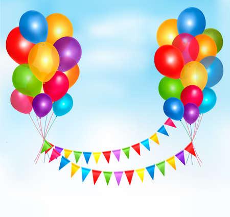 globos de cumplea�os: Globos de cumplea�os fotograma de la composici�n con el espacio para el texto Vectores