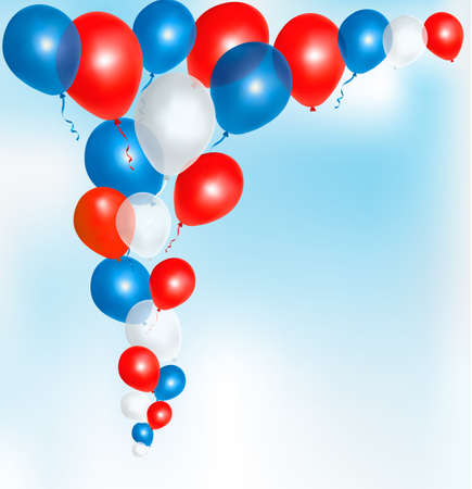 Red, blue and white balloons frame composition with space for your text Stock Vector - 13749475