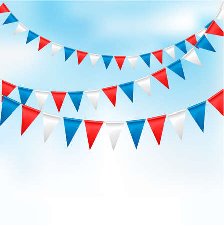 Holiday background with birthday flags Ilustração