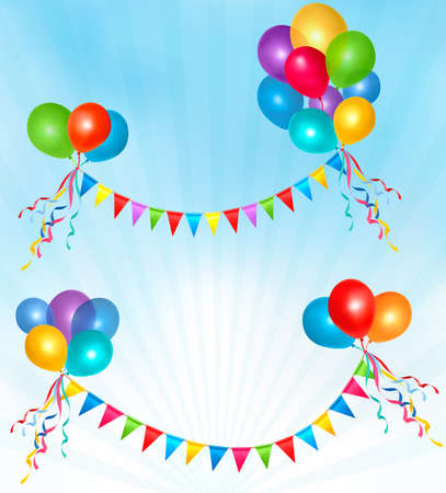 bunting flags: Birthday balloons frame composition with space for your text
