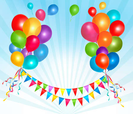 ballon: Birthday balloons frame composition with space for your text. Vector illustration.