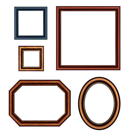Set of vintage brown picture frames Stock Vector - 13749473