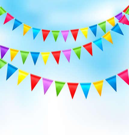 marco cumplea�os: Vacaciones de fondo con las banderas de cumplea�os de colores. Vector