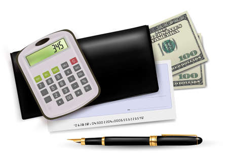 Black checkbook with check, calculator and dollars. Vector illustration. Vector