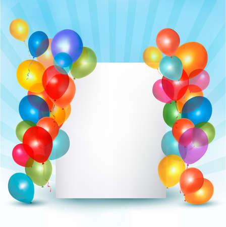 Vakantie ballonnen beeldcompositie met ruimte voor uw tekst. Vector illustratie.