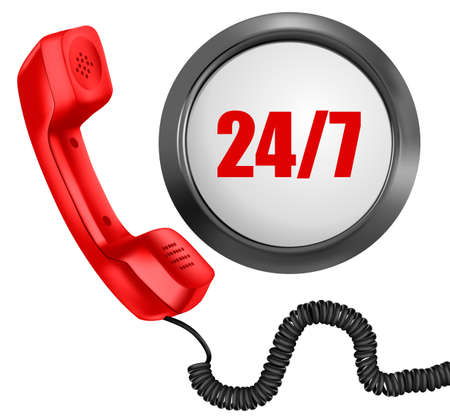 cable telefono: Teléfono y botón 247. 24 horas de día, 7 días a la semana concepto de apoyo. Vector ilustración.