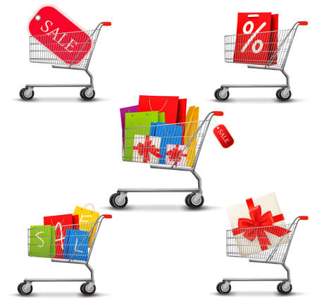 cart: Collection of shopping carts full of shopping bags and a sale label. Concept of discount.