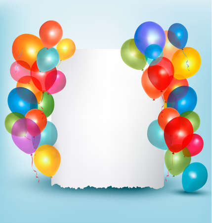 Holiday balloons frame composition with space for your text. Vector illustration. Vector