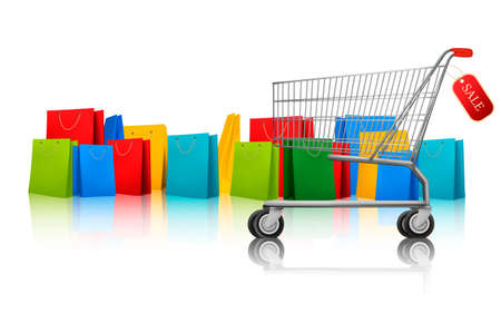 Background with shopping color bags and shopping cart with sale. Concept of discount. Vector