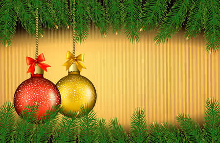 desember: Christmas background with gift balls and fir branches.