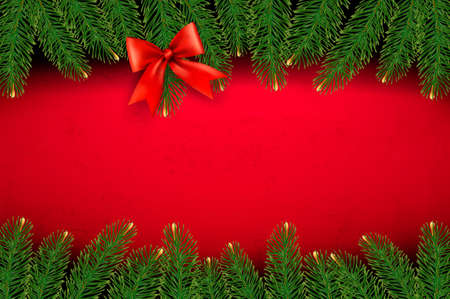 desember: Christmas background with gift bow and fir branches. Illustration
