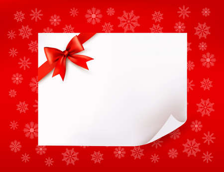 Christmas sheet of paper and red ribbon gift background. Vector illustration
