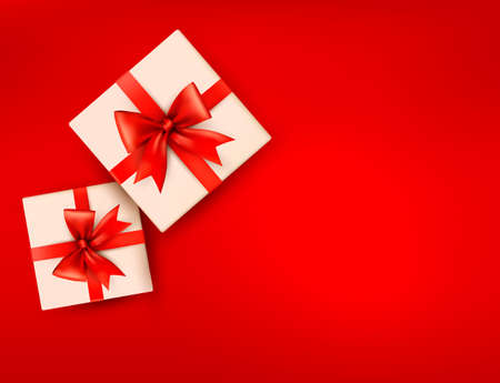 Red holiday background with gift boxes with red bow. Vector illustration Vector