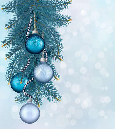 Christmas background with balls and fir branches Stock Vector - 16818724