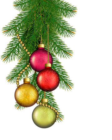 desember: Christmas background with balls and fir branches  illustration
