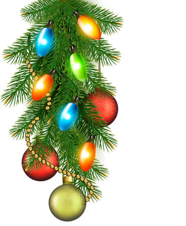 harland: Christmas background with balls and fir branches  illustration