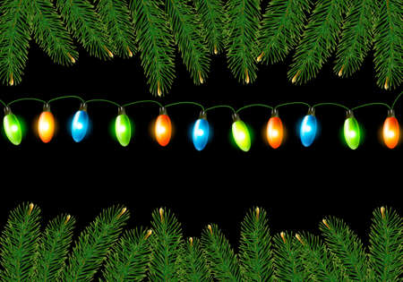harland: Christmas background with colorful harland and fir branches  illustration