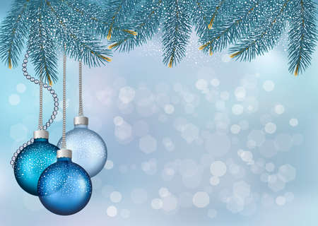 christmas card background: Christmas background with balls and fir branches  illustration
