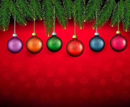 desember: Christmas background with color balls and fir branches