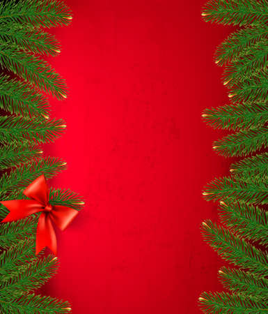 desember: Christmas retro background with gift bow and fir branches   Illustration