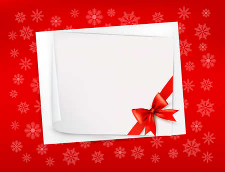 Christmas sheet of paper and red ribbon gift background  illustration Vector