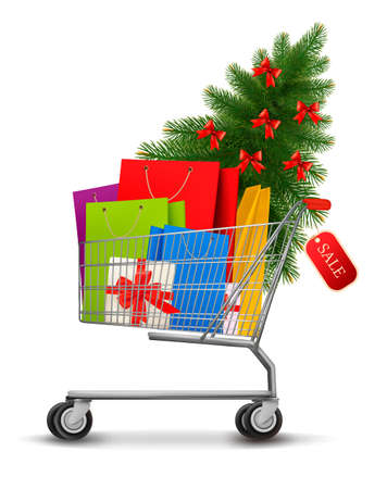 gift cart: Background with shopping color bags and shopping cart with sale  Concept of discount  illustration
