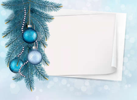 Holiday blue background with Christmas sheet of paper and gift balls.  Vector