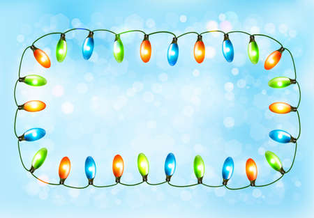 Holiday background with colorful garland. Vector Vector