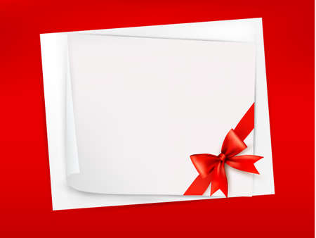anniversary backgrounds: Red background with sheet of paper and red bow and ribbon Illustration