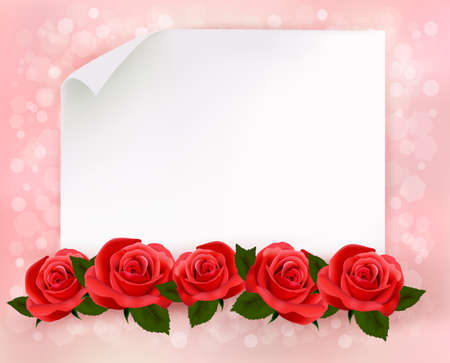 rose frame: Holiday background with sheet of paper and red flowers