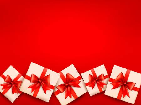 Red holiday background with gift boxes and red bow Vector