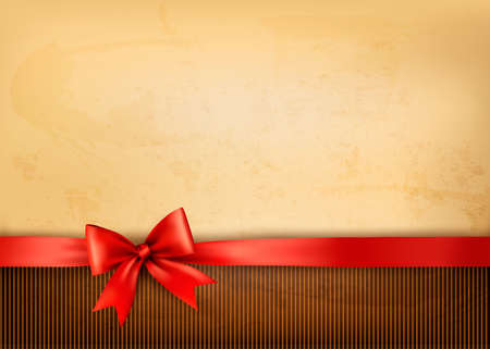 giving gift: Old background with red bow and ribbon. Vector
