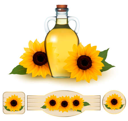 Bottle of sunflower oil with flower and  labels sunflower oil. Vector