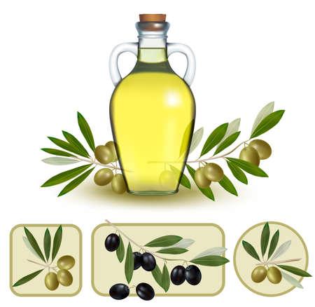 aceite de oliva: Botella de aceite con aceitunas verdes y las etiquetas de aceite de oliva.