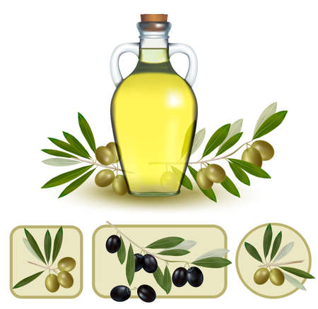 cruet: Bottle of oil with green olives and olive oil labels. Illustration