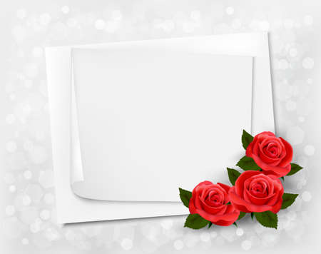 Holiday background with sheet of paper and red flowers. Valentines background.