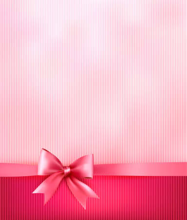 happy couple white background: Elegant holiday background with gift pink bow and ribbon.  Illustration